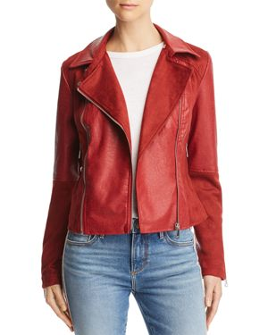 AQUA Faux Leather & Faux Suede Biker Jacket - 100% Exclusive in Red