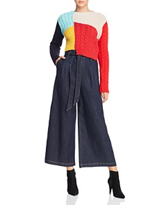 Alice and Olivia - Ryan Paperbag-Waist Denim Wide-Leg Pants