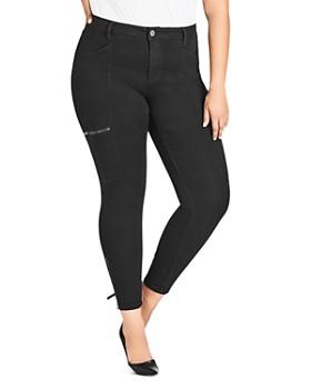 City Chic Plus - Cargo Skinny Jeans in Black