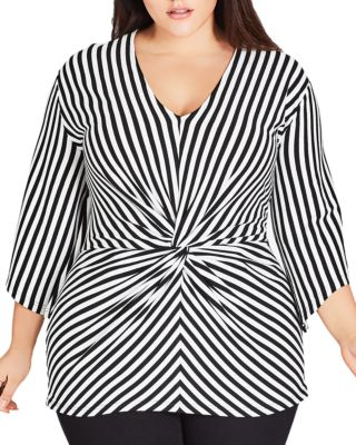 Striped Twist Front Top by City Chic Plus