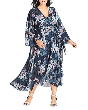 City Chic Plus Luna Floral Maxi Wrap Dress