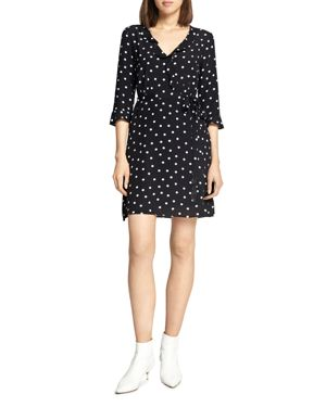 Eye Candy Dotted Faux Wrap Dress in Black Dots