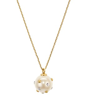 kate spade new york - Pavé-Studded Simulated Pearl Pendant Necklace, 16""