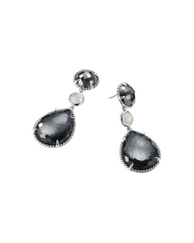 David Yurman - Chatelaine Teardrop Earrings with Hematine with Crystal Overlay, Hematine & Milky Quartz Over Mother-of-Pearl