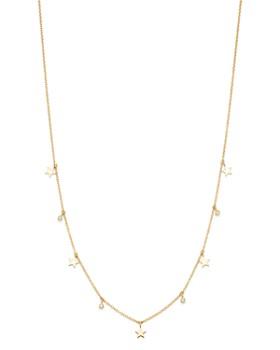 "Zoë Chicco - 14K Yellow Gold Diamond Dangling Stars Choker Necklace, 16"""