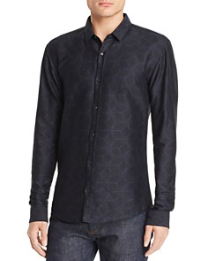 HUGO - Ero Geometric-Print Slim Fit Shirt