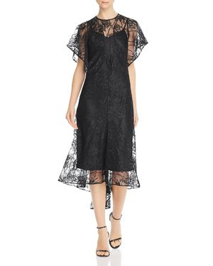 DIVINE HÉRITAGE Lace Midi Dress in Black