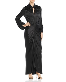 Divine Heritage - Satin & Velvet Western Shirt Dress