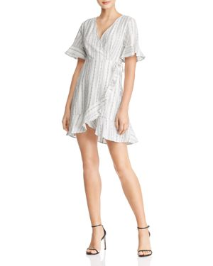 EN CREME Ruffled Striped Wrap Dress in White Multi