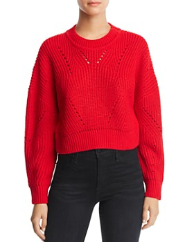AQUA - Cropped Pointelle Sweater - 100% Exclusive