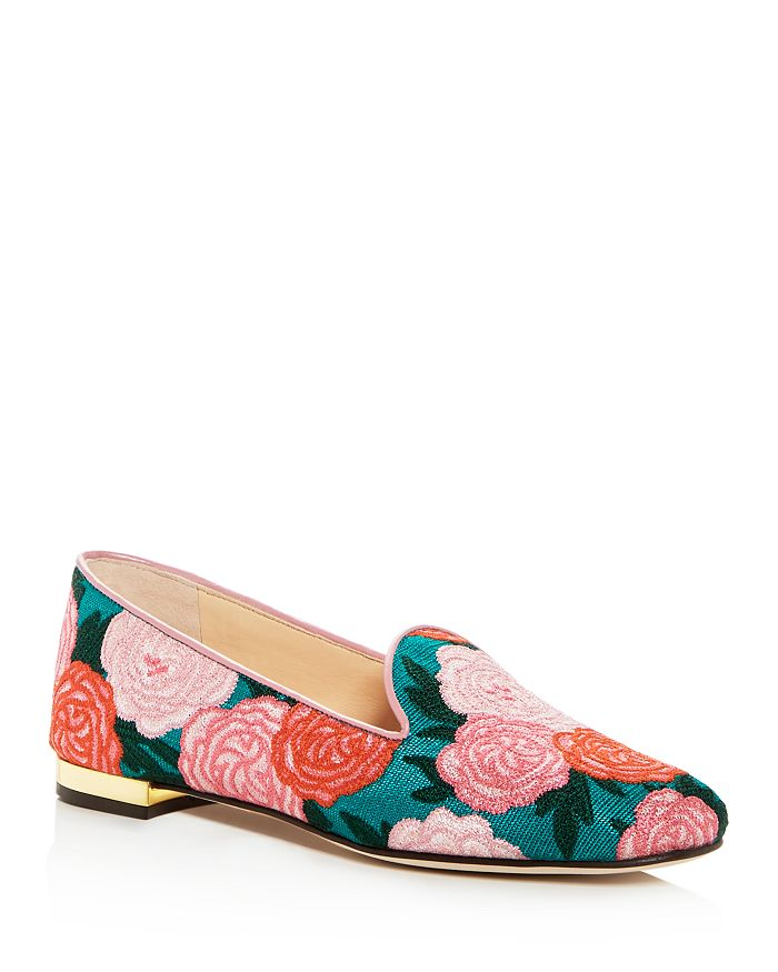Charlotte Olympia WOMEN'S FABRI FLORAL-EMBROIDERED SMOKING SLIPPERS