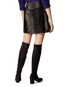 KAREN MILLEN - Leopard Print Faux Fur Mini Skirt