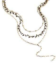 """Ela Rae - Three in One Lariat Necklace in 14K Gold-Plated Sterling Silver or Rhodium-Plated Sterling Silver, 14""""-16"""""""