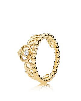 Pandora - Yellow Gold Tone-Plated Sterling Silver My Princess Tiara Ring