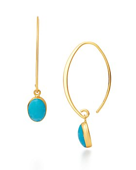 Bloomingdale's - Turquoise Threader Drop Earrings in 14K Yellow Gold - 100% Exclusive