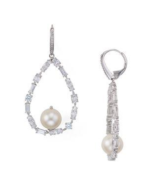 Nadri Cadence Cultured Freshwater Pearl Open Teardrop Earrings