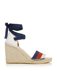 Gucci - Women's Ankle-Tie Platform Wedge Espadrille Sandals