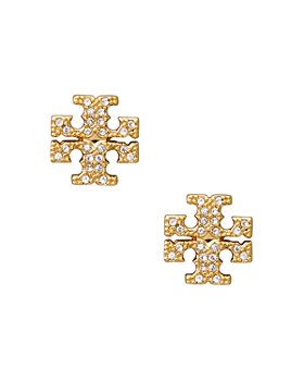 Tory Burch - Crystal Logo Stud Earrings