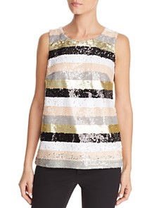 Calvin Klein - Striped Sequin Top