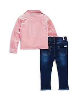 7 For All Mankind - Girls' Velour Moto Jacket, Lace-Trimmed Tee & Frayed Jeans Set - Little Kid