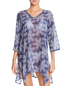 J. Valdi - Bloom V-Neck Sharkbite Tunic Swim Cover-Up