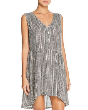J. VALDI Gold Coast Button Up Tunic Dress Swim Cover-Up in Ivory/Black/Gold