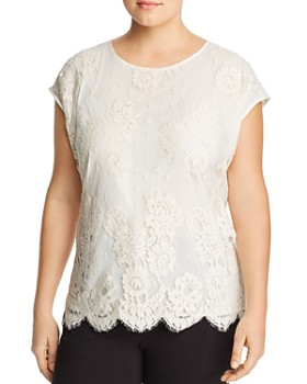 VINCE CAMUTO Plus - Floral-Lace Top