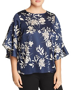 VINCE CAMUTO Plus - Floral-Print Ruffle-Sleeve Top