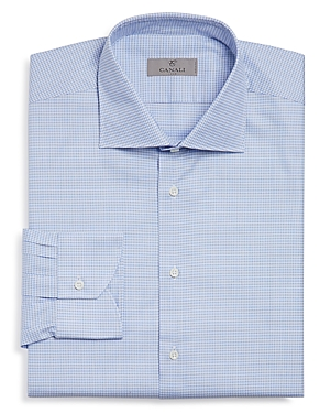 Canali Micro-Houndstooth Regular Fit Dress Shirt