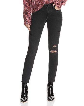 PAIGE - Verdugo Ankle Skinny Jeans in Faded Noir Destructed