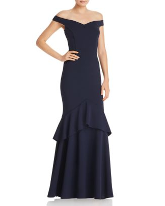 Off The Shoulder Tiered Crepe Gown   100% Exclusive by Aqua