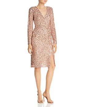 d7d5007c Adrianna Papell - Sequined Faux-Wrap Dress ...
