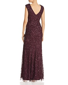 Adrianna Papell - Sequined Cap-Sleeve Gown