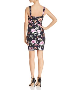 AQUA - Metallic Floral Body-Con Dress - 100% Exclusive
