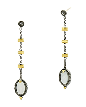 Freida Rothman Imperial Mother-of-Pearl Linear Drop Earrings in Black Rhodium-Plated Sterling Silver & 14K Gold-Plated Sterling Silver