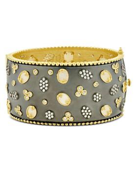 Freida Rothman - Imperial Multi-Stone Wide Bangle Bracelet in Black Rhodium-Plated Sterling Silver & 14K Gold-Plated Sterling Silver