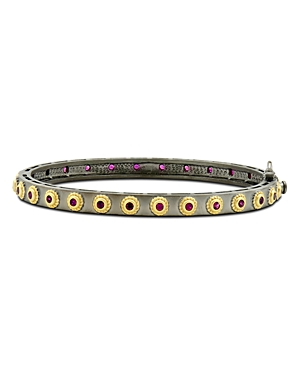 Freida Rothman Color Eternity Bangle Bracelet in Black Rhodium-Plated Sterling Silver & 14K Gold-Plated Sterling Silver
