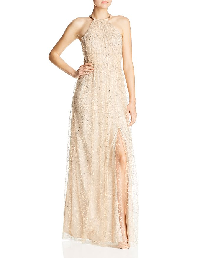 Bariano - Glitter Mesh Gown
