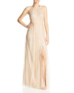 BARIANO Lavender Glitter Mesh Gown in Gold