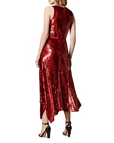 KAREN MILLEN - Asymmetric Sequined Midi Dress