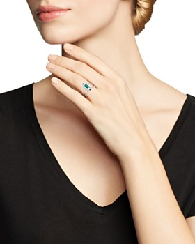 Bloomingdale's - Emerald & Tanzanite Ring with Diamonds in 14K White Gold - 100% Exclusive