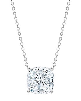 """Crislu - Cushion-Cut Pendant Necklace in 18K Rose Gold-Plated Sterling Silver or Platinum-Plated Sterling Silver, 16"""""""