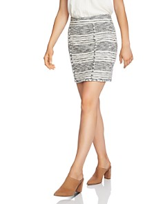 1.STATE - Fringe-Trim Tweed Skirt