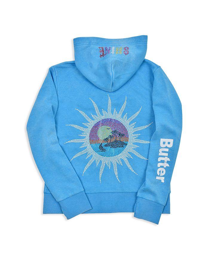 Butter - Girls' Fleece Embellished Summer Shine Zip-Up Hoodie - Big Kid, Little Kid