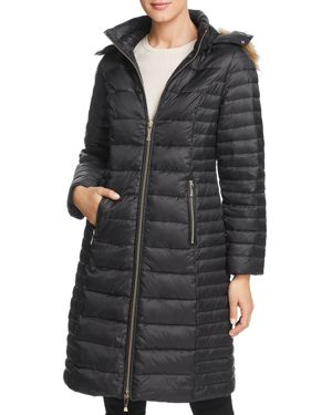 kate spade new york Faux Fur Trim Hooded Puffer Coat