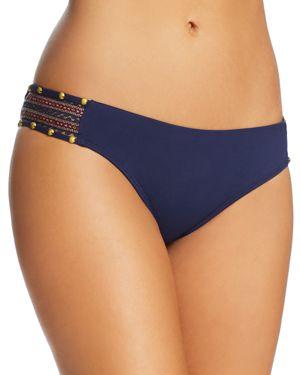 ONDADEMAR Ondademar Strappy Side Bikini Bottom in Blue