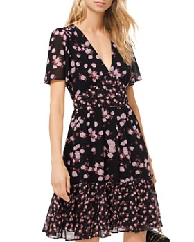 MICHAEL Michael Kors - Rose Print Georgette Dress