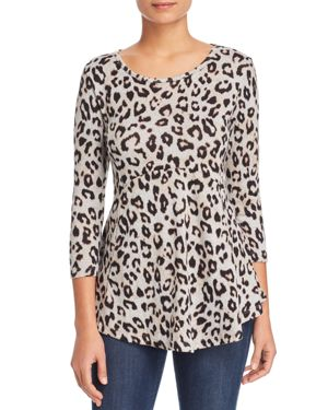 B COLLECTION BY BOBEAU B Collection By Bobeau Leopard Print Tunic Sweater in Bitter Chocolate Leopard