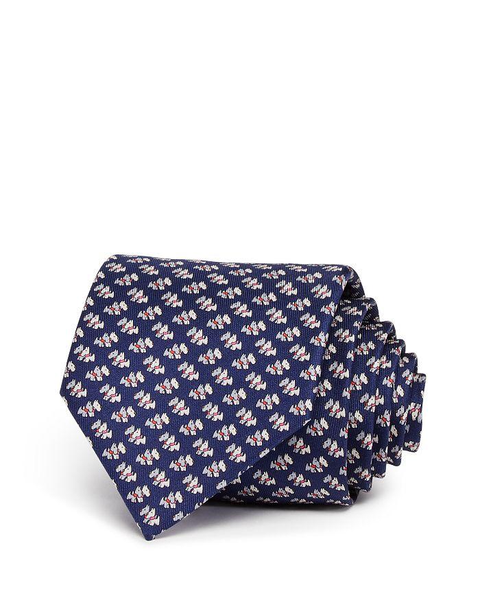 Salvatore Ferragamo Scottie Dogs Silk Classic Tie In Navy