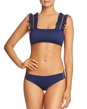 OndadeMar - Embellished Ruffle Bikini Top & Strappy Side Bikini Bottom